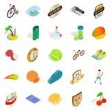 Ícones ajustados, estilo isométrico do campeonato do tênis ilustração stock