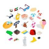 Ícones ajustados, estilo isométrico do comportamento social ilustração stock