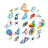 Ícones ajustados, estilo isométrico do plano de negócios ilustração stock