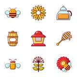 Ícones ajustados, estilo liso da apicultura ilustração royalty free