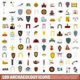 100 ícones ajustados, estilo liso da arqueologia ilustração royalty free