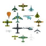 Ícones ajustados, estilo liso da aviação Foto de Stock Royalty Free