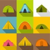 Ícones ajustados, estilo liso da barraca do acampamento ilustração stock