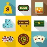 Ícones ajustados, estilo liso da casa de jogo ilustração stock