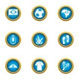 Ícones ajustados, estilo liso da cidade do futebol ilustração royalty free