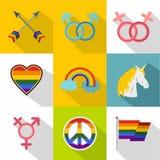 Ícones ajustados, estilo liso da cultura LGBT Fotos de Stock Royalty Free