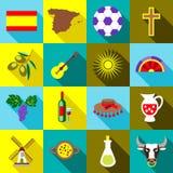 Ícones ajustados, estilo liso da Espanha ilustração stock