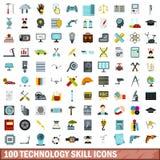 100 ícones ajustados, estilo liso da habilidade da tecnologia Imagem de Stock
