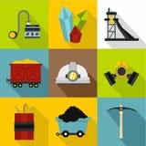 Ícones ajustados, estilo liso da mina de carvão ilustração do vetor