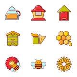 Ícones ajustados, estilo liso da produção do mel ilustração royalty free