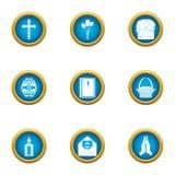 Ícones ajustados, estilo liso da súplica ilustração royalty free