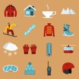 Ícones ajustados, estilo liso da snowboarding ilustração royalty free