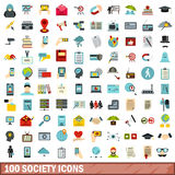 100 ícones ajustados, estilo liso da sociedade Fotografia de Stock Royalty Free