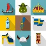 Ícones ajustados, estilo liso da Suécia do país ilustração royalty free