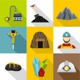 Ícones ajustados, estilo liso das atividades da mineração ilustração stock