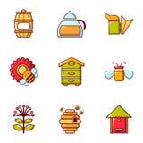 Ícones ajustados, estilo liso das ferramentas da apicultura ilustração royalty free