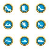 Ícones ajustados, estilo liso das sapatas de passeio ilustração stock