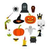 Ícones ajustados, estilo liso de Dia das Bruxas ilustração stock