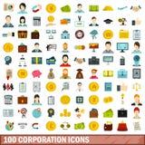 100 ícones ajustados, estilo liso do corporaçõ ilustração do vetor