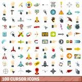 100 ícones ajustados, estilo liso do cursor ilustração royalty free