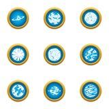 Ícones ajustados, estilo liso do espaço ilustração royalty free