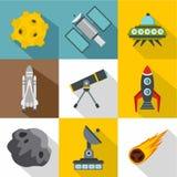 Ícones ajustados, estilo liso do espaço ilustração stock