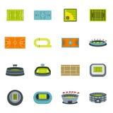 Ícones ajustados, estilo liso do estádio do esporte ilustração royalty free