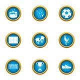Ícones ajustados, estilo liso do futebol da faculdade ilustração do vetor
