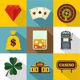 Ícones ajustados, estilo liso do jogo do casino ilustração do vetor