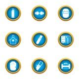 Ícones ajustados, estilo liso do negócio da soldadura ilustração stock