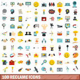 100 ícones ajustados, estilo liso do reclame Foto de Stock