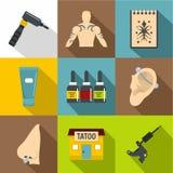 Ícones ajustados, estilo liso do salão de beleza da tatuagem ilustração do vetor