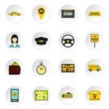 Ícones ajustados, estilo liso do táxi ilustração royalty free