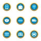 Ícones ajustados, estilo liso do táxi da cidade ilustração do vetor