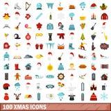 100 ícones ajustados, estilo liso do xmas ilustração do vetor