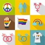 Ícones ajustados, estilo liso dos gay e lesbiana ilustração stock