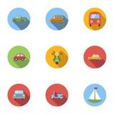 Ícones ajustados, estilo liso dos serviços do transporte Imagens de Stock