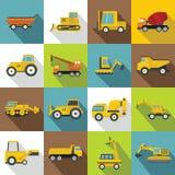 Ícones ajustados, estilo liso dos veículos da construção ilustração royalty free