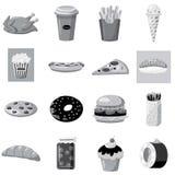 Ícones ajustados, estilo monocromático cinzento do fast food ilustração royalty free