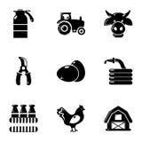 Ícones ajustados, estilo simples da agricultura ilustração stock