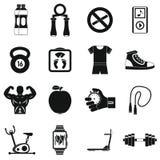 Ícones ajustados, estilo simples da aptidão ilustração stock