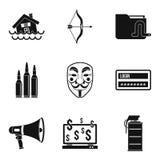 Ícones ajustados, estilo simples da atração ilustração royalty free