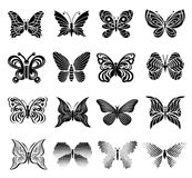 Ícones ajustados, estilo simples da borboleta Imagem de Stock Royalty Free