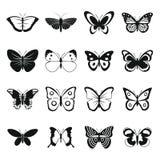 Ícones ajustados, estilo simples da borboleta Fotografia de Stock