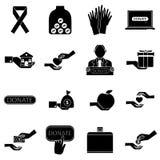 Ícones ajustados, estilo simples da caridade ilustração royalty free