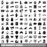100 ícones ajustados, estilo simples da caridade ilustração royalty free