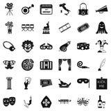 Ícones ajustados, estilo simples da cena ilustração stock