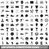 100 ícones ajustados, estilo simples da competição de esportes ilustração royalty free