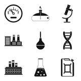 Ícones ajustados, estilo simples da crise do combustível ilustração do vetor