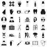 Ícones ajustados, estilo simples da droga ilustração do vetor